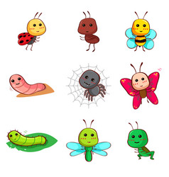 cute cartoon insects and bugs vector image