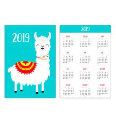 cute llama alpaca standing smiling simple pocket vector image