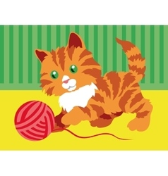 Cute orange kitten playing with a clew in room vector