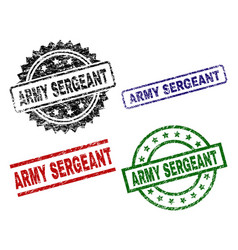 Damaged textured army sergeant seal stamps vector