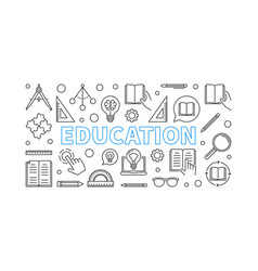 Education horizontal banner in thin line vector