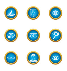 eye disease icons set flat style vector image