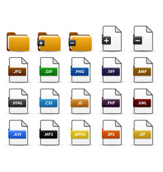 file folder web icon design a set of types vector image