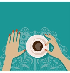Flat cup of coffee vector