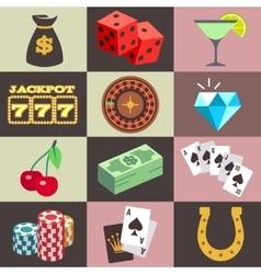 Flat gambling casino money win jackpot luck vector image