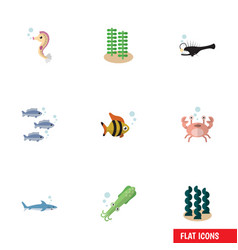 Flat icon nature set shark seafood cancer and vector