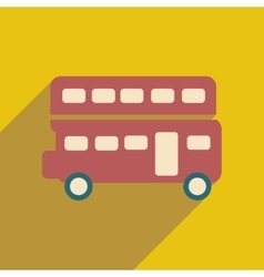 flat icon with long shadow double decker bus vector image