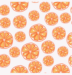 fresh yummy and sliced orange seamless pattern vector image