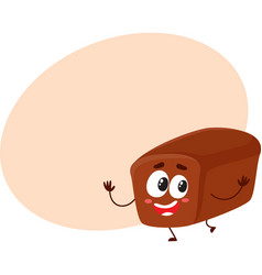 funny smiling whole wheat dark brown bread loaf vector image