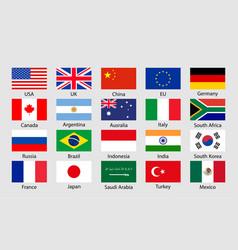 g20 flag icon china korea brazil mexico usa japan vector image