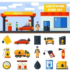 Gas petrol station icons collection banner vector