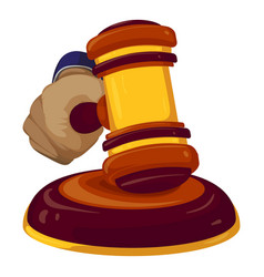 Gavel judge decision icon cartoon style vector