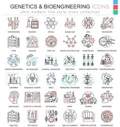 Genetics and biochemistry color flat line vector