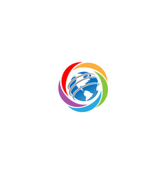 Global planet earth logo design vector