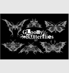 gloomy butterflies - set - moth dead head vector image