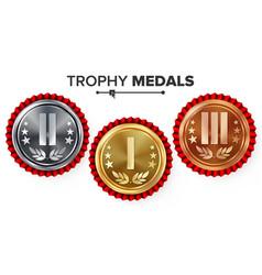 Gold silver bronze place badge medal set vector