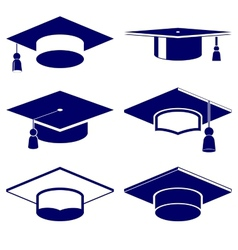Graduation cap icon set vector image