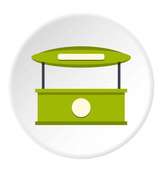 green tent shop icon circle vector image
