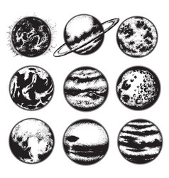 Hand drawn of planets sun and moon solar system vector
