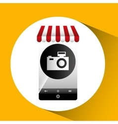 Hand holding e-shopping camera design vector