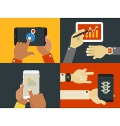 Hands and gadgets vector image