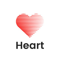 heart flat logo design template with lines vector image