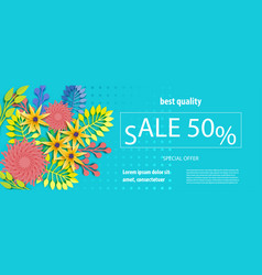 horizontal paper flower sale banner vector image
