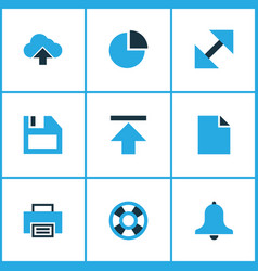 Interface icons colored set with lifeguard floppy vector