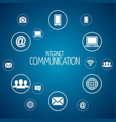 internet communication set icons vector image