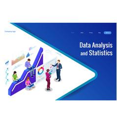 isometric web banner data analysis and statistics vector image