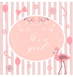 Its a girl announcement baby shower collection vector