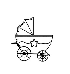 Line baby strolle that used to transportation vector
