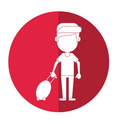 Man tourist travel suitcase shadow vector