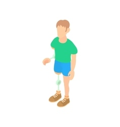 Man with prosthetic leg and arm icon cartoon style vector