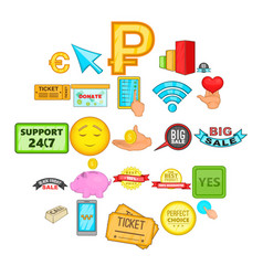 market icons set cartoon style vector image