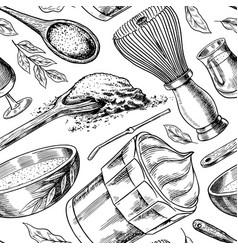 matcha green tea seamless pattern vintage vector image