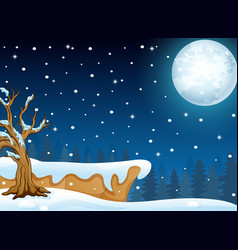 Night winter landscape with falling snow vector
