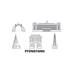 North korea pyongyang line travel skyline set vector
