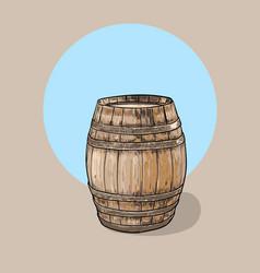 Old wooden barrel container wine vector