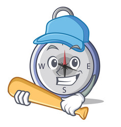 Playing baseball compass character cartoon style vector