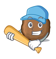 playing baseball meatball character cartoon style vector image