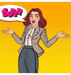 Pop Art Excited Happy Business Woman vector