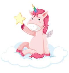 Pretty pink unicorn concept vector