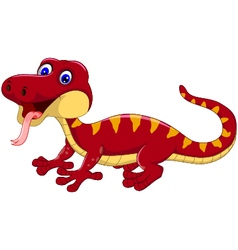 red gecko cartoon posing vector image