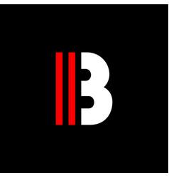 Red lines geometric logo letter b vector