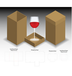 Rigid box for wine glass mockup with dieline vector