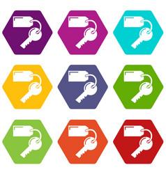 room key hotel icons set 9 vector image