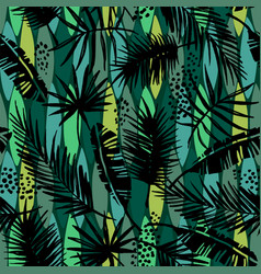 seamless exotic pattern with tropical plants vector image