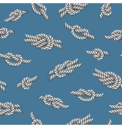Seamless pattern with white ropes and marine knots vector image
