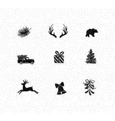 set christmas decorative icons vector image